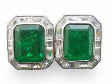 925 Sterling Silver Cufflink Men Jewelry Green emerald White Baguette halo - ALc