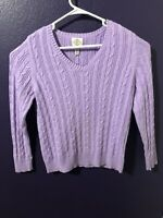 ST. JOHNS BAY CLASSIC CABLE KNIT PULLOVER TOP SWEATER PURPLE/LAVENDER SIZE PL