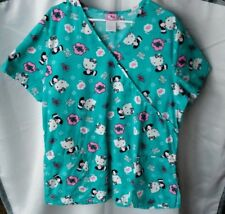 Sanrio Hello Kitty Medical Scrub Top Shirt Teal Bright Blue Women's Size XL Work