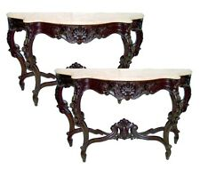 Victorian Rosewood Rococo Marble Top Consoles Tables #5927