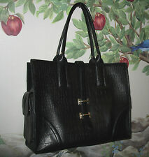 FOLEY & CORINNA Black Croc Leather Simpatico East / West Tote Shoulder Bag