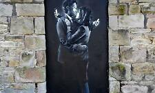 mobile lovers wall art banksy print  800mm x 500mm