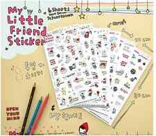 #63 cute my little friends cartoon pvc stickers notebook diary deco 6 sheets