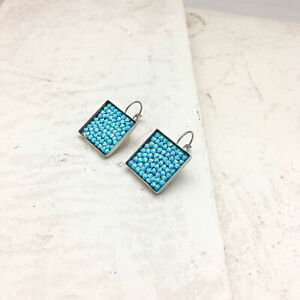 925 Silver-plated-brass Earring Swarovski Crystals, Square 20 Mm, Turquoise Size