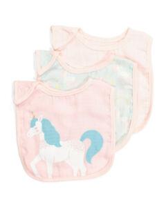 Modern Baby, 3pk Baby Girls Muslin Fabric Bibs, Unicorn Patterns