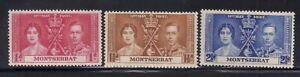 Montserrat  1937   Sc # 89-91   Coronation   MNH  OG   (5028)
