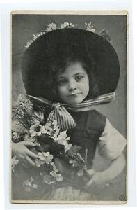 c 1910 Children Fashion BIG HAT GIRL Cute Child photogravure photo postcard