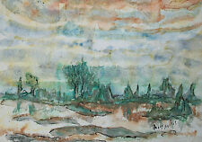 MACY HERFST - Expressionist Watercolor Painting - Signed - Unframed - Circa 1977
