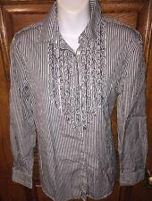 RALPH LAUREN Classic Black & White Stripes Ruffled Bodice Cotton SHIRT TOP, L