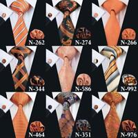 Orange Paisley Solid Novelty Men's Tie Jacquard Woven Silk Necktie set Wedding