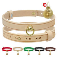 Luxury Genuine Leather Small Dog Collars Metal D ring Adjustable For Yorkie S M