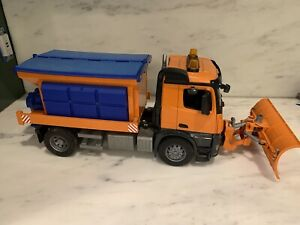 Excellent Used Bruder #03685 MB Arocs Snow Plow Truck