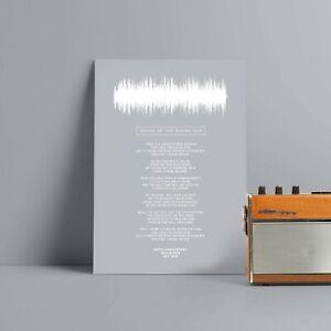 Wedding Song Lyrics Sound Wave Print Anniversary Gift Personalised Husband Wife