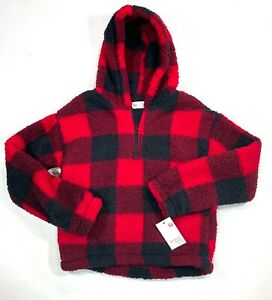 SO Girl's Sherpa 1/4 Zip Buffalo Check Cozy Jacket Large 10/12