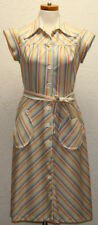 Vintage 1960s Brown Stripe Button Wing Collar Polyester House Day Dress Belt