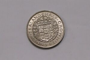 NEW ZEALAND HALF CROWN 1941 SCARCE HIGH GRADE B32 #Z4173