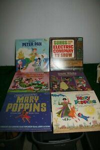 Lot 6 Vintage Disneyland Vinyl Records Mary Poppins Peter Pan Snow White