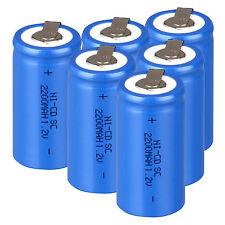 6 Pcs Rechargeable Battery Sub C SC 1.2V 2200mAh Ni-Cd Batteries - Blue