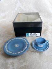 WEDGWOOD BLUE JASPERWARE MINIATURE TEACUP AND SAUCER AND PLATE