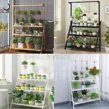 3/4Tier Bamboo Hanging Folding Plant Shelf Stand Flower Pot Display Storage