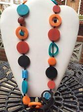 Gorgeous orange blue multi resin bead long link necklace