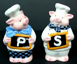Vintage Pig Chefs with Letters Salt and Pepper Shakers Never Used
