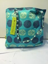 Amy Butler Sara Pressed Flowers Mint Green Organic Cotton Tote NEW! Retail $72