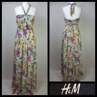H&M Cream Pink Yellow Bold Floral Print Halterneck Floaty Maxi Dress Size UK 6
