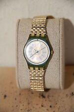 Womens Swatch Green Case fancy hands AG 1994 Stretch Band Parts or Repairs