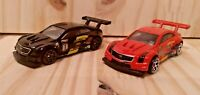 Hotwheels 16 Cadillac ATS VR Lot Of 2 Black Red Die Cast 1:64