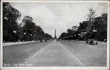Berlin alte s/w Postkarte ~1940 Ost West Achse Siegessäule im Hintergrund Autos