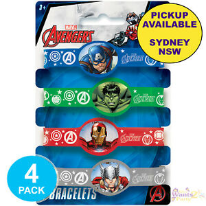 AVENGERS PARTY SUPPLIES 4 RUBBER WRISTBANDS SUPERHERO BIRTHDAY FAVOURS