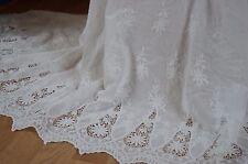125x40cm Tissu broderie anglaise blanc cassé 100% coton