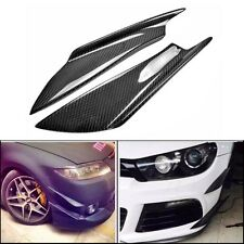 2Pcs Carbon Fiber Front Lip Splitter Fins Body Spoiler Canards Refit Bumper Trim