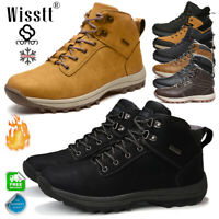 Mens Winter Warm Fur Lined Ankle Snow Boots Shoes Waterproof Leather Outdoor New