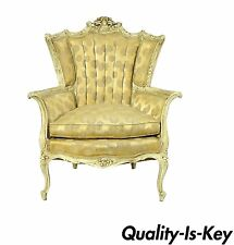 Antique French Cream Distress Painted Wing Back Parlor Chair Louis XV Carved