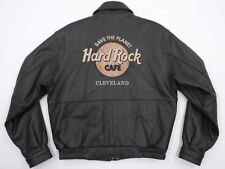 Mens Hard Rock Cafe Save the Planet Cleveland Brown Leather Jacket Small AWESOME