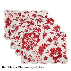 Floral Quilted Cotton/Linen Table Runner or Placemats