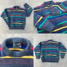 YOUTH / WMNS SZ XL VTG COOGI SWEATER GRY WOOL MULTI RAINBOW ABSTRACT HOR STRIPE