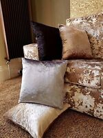 Cushion large plain velour heavy crushed velvet cushion covers or cushion 17x17""