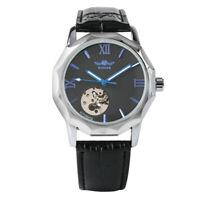 Men Watch Automatic Mechanical Wristwatch Business Skeleton Leather Strap Watch