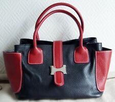 sac à mains petit cabas GENUINE LEATHER en cuir gainé rouge et noir NEUF