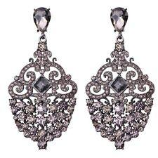 wholesale Jewelry Gray Crystal Rhinestone Ear Drop Dangle Stud Earrings 25