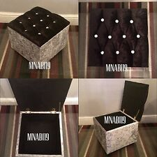Black and Silver Crushed Velvet 10 Diamond Ottoman Storage Footstool 16 by 16