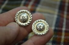 STERLING SILVER Engraved High Domed Mini Concho EARRINGS w/ Rope Border ** DRESS
