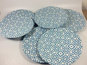 "Crate And Barrel Kate Spain Blue Geometric Salad Dessert Plates 8.25"" Set Of 6"