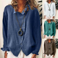 Fashion Women Cotton Linen Casual Solid Buttons Long Sleeves T-Shirt Blouse Tops