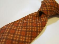 KITON mens neck tie NEW WT! 100% wool 7-FOLD orange plaid POWER! Thick soft!
