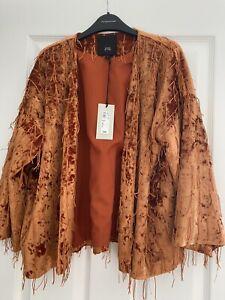 RIVER ISLAND SIZE SMALL Kimono Style Orange Jacket With Tassels BNWT