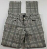 London Jean Womens Jeans Sz 10 Straight Leg Mid Rise Gray Plaid Denim Pants **